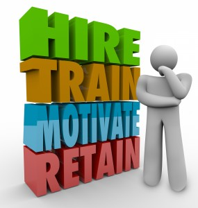Hire, Train, Motivate and Retain 3d words beside a thinker to il