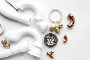 Plumbing equipment on a white background. Contractor 20/20.